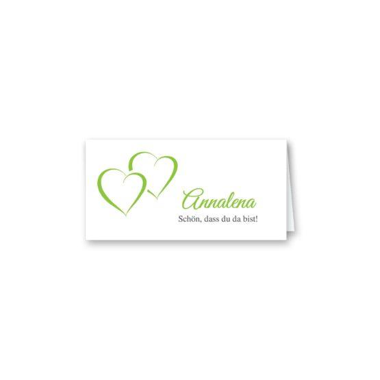 tischkarte klappkarte hochzeit vintage herz herzen doppelherz liebe grün hochzeitsgrafik onlineshop papeterie