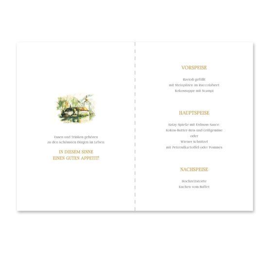 menükarte klappkarte hochzeit vintage schloss orth ort gmunden malerei aquarell salzkammergut hochzeitsgrafik onlineshop papeterie