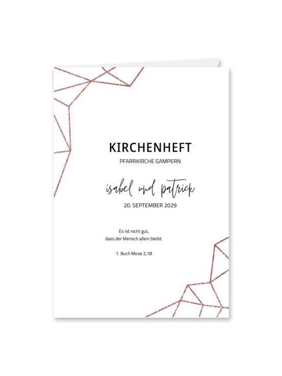 kirchenheft klappkarte hochzeit elegant geometrie puristisch glitzer rose hochzeitsgrafik onlineshop papeterie