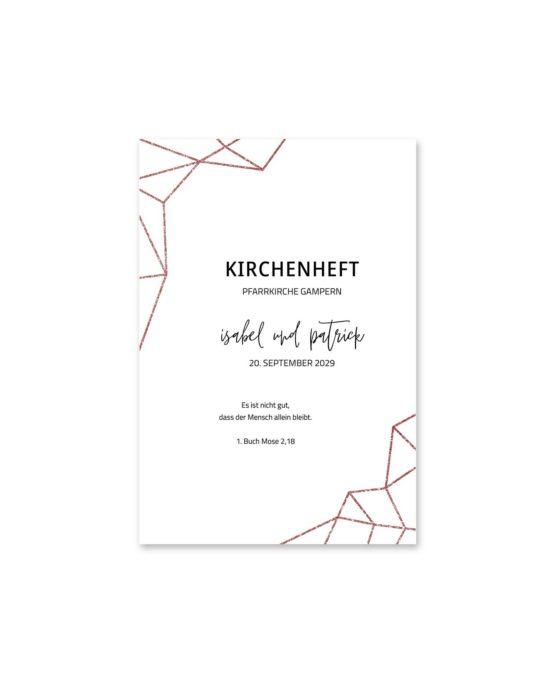 kirchenheft fächer hochzeit elegant geometrie puristisch glitzer rose hochzeitsgrafik onlineshop papeterie