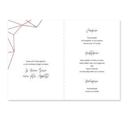 menükarte klappkarte hochzeit elegant geometrie puristisch glitzer rose hochzeitsgrafik onlineshop papeterie