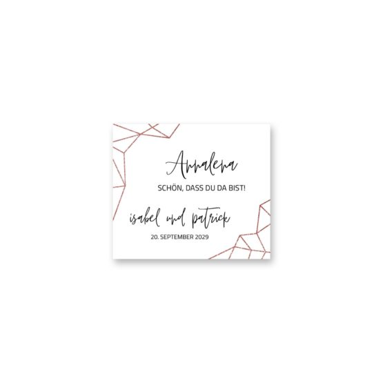 tischkarte hochzeit elegant geometrie puristisch glitzer rose hochzeitsgrafik onlineshop papeterie