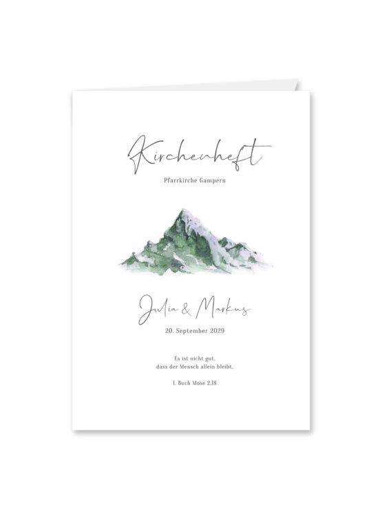kirchenheft klappkarte hochzeit vintage landschaft berg berge aquarell hochzeitsgrafik onlineshop papeterie