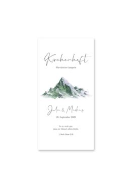 kirchenheft hochzeit vintage landschaft berg berge aquarell hochzeitsgrafik onlineshop papeterie