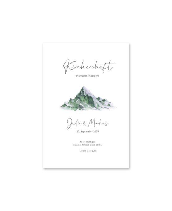 kirchenheft fächer hochzeit vintage landschaft berg berge aquarell hochzeitsgrafik onlineshop papeterie