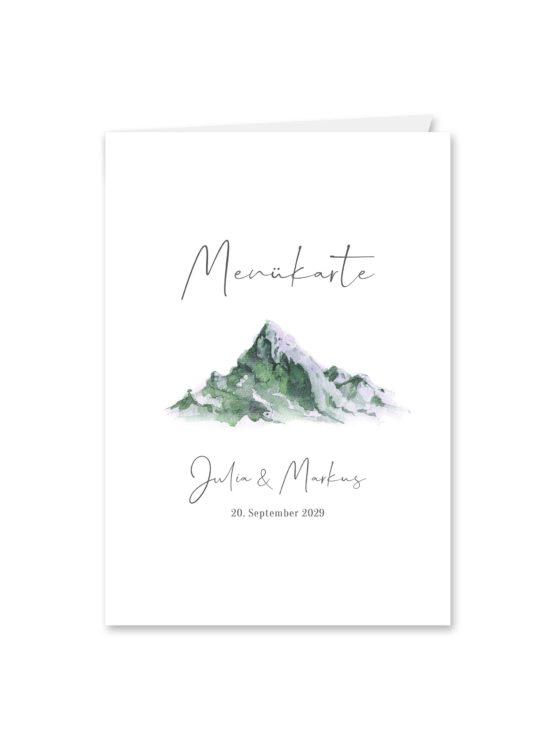 menükarte klappkarte hochzeit vintage landschaft berg berge aquarell hochzeitsgrafik onlineshop papeterie