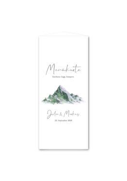 menükarte dreieck hochzeit vintage landschaft berg berge aquarell hochzeitsgrafik onlineshop papeterie