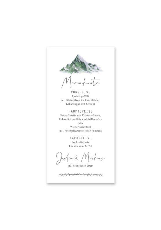 menükarte hochzeit vintage landschaft berg berge aquarell hochzeitsgrafik onlineshop papeterie