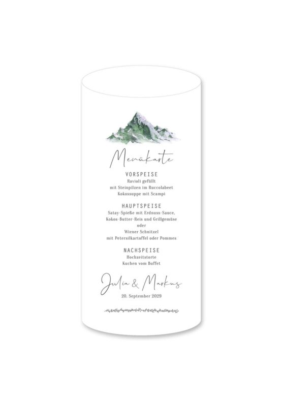 menükarte windlicht hochzeit vintage landschaft berg berge aquarell hochzeitsgrafik onlineshop papeterie