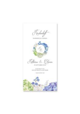 kirchenheft hochzeit vintage logo monogramm blumenkranz hortensien kirschblüten blau grün creme hochzeitsgrafik onlineshop papeterie