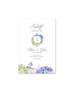kirchenheft fächer hochzeit vintage logo monogramm blumenkranz hortensien kirschblüten blau grün creme hochzeitsgrafik onlineshop papeterie