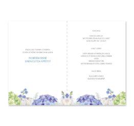 menükarte klappkarte hochzeit vintage logo monogramm blumenkranz hortensien kirschblüten blau grün creme hochzeitsgrafik onlineshop papeterie