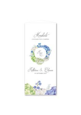 menükarte dreieck hochzeit vintage logo monogramm blumenkranz hortensien kirschblüten blau grün creme hochzeitsgrafik onlineshop papeterie