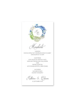 menükarte hochzeit vintage logo monogramm blumenkranz hortensien kirschblüten blau grün creme hochzeitsgrafik onlineshop papeterie