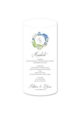 menükarte windlicht hochzeit vintage logo monogramm blumenkranz hortensien kirschblüten blau grün creme hochzeitsgrafik onlineshop papeterie