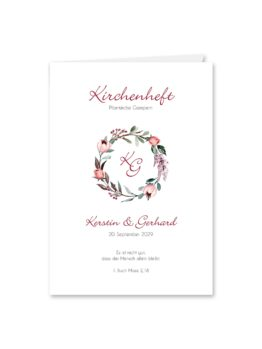 kirchenheft klappkarte hochzeit vintage blumenkranz beere rosa rot herbst logo monogramm hochzeitsgrafik onlineshop papeterie