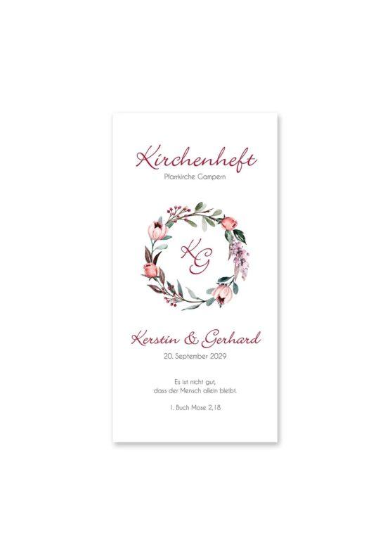 kirchenheft hochzeit vintage blumenkranz beere rosa rot herbst logo monogramm hochzeitsgrafik onlineshop papeterie
