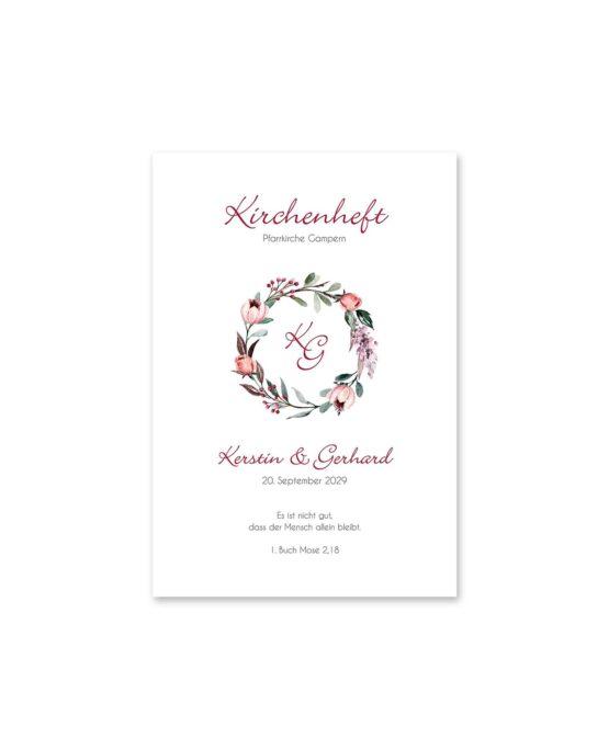 kirchenheft fächer hochzeit vintage blumenkranz beere rosa rot herbst logo monogramm hochzeitsgrafik onlineshop papeterie