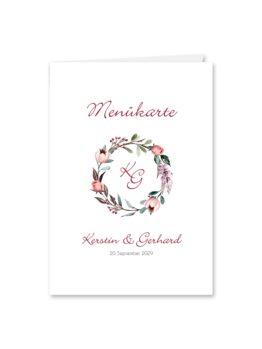 menükarte klappkarte hochzeit vintage blumenkranz beere rosa rot herbst logo monogramm hochzeitsgrafik onlineshop papeterie