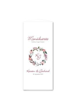 menükarte dreieck hochzeit vintage blumenkranz beere rosa rot herbst logo monogramm hochzeitsgrafik onlineshop papeterie