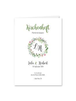kirchenheft klappkarte hochzeit vintage blumenkranz aquarell acryl logo monogram rosa hochzeitsgrafik onlineshop papeterie