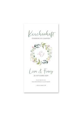kirchenheft hochzeit vintage blumenkranz grün rosa eucalyptus logo monogramm hochzeitsgrafik onlineshop papeterie