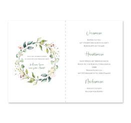 menükarte klappkarte hochzeit vintage blumenkranz grün rosa eucalyptus logo monogramm hochzeitsgrafik onlineshop papeterie
