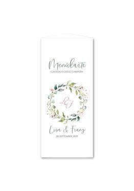 menükarte dreieck hochzeit vintage blumenkranz grün rosa eucalyptus logo monogramm hochzeitsgrafik onlineshop papeterie