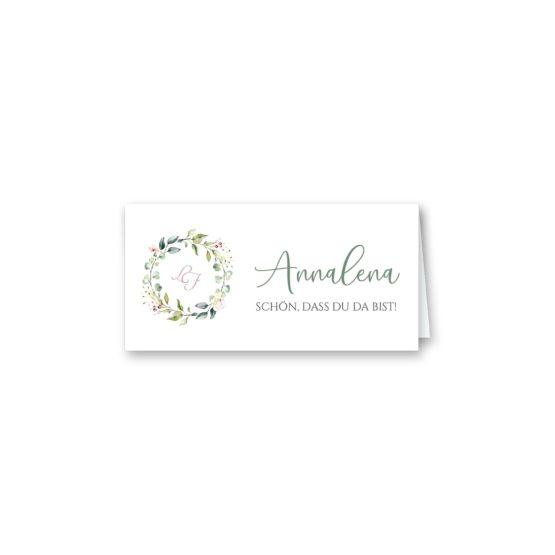 tischkarte klappkarte hochzeit vintage blumenkranz grün rosa eucalyptus logo monogramm hochzeitsgrafik onlineshop papeterie