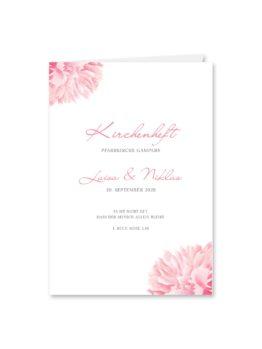 kirchenheft klappkarte hochzeit vintage blumen pfingstrosen rosa aquarell acyrl malerei hochzeitsgrafik onlineshop papeterie