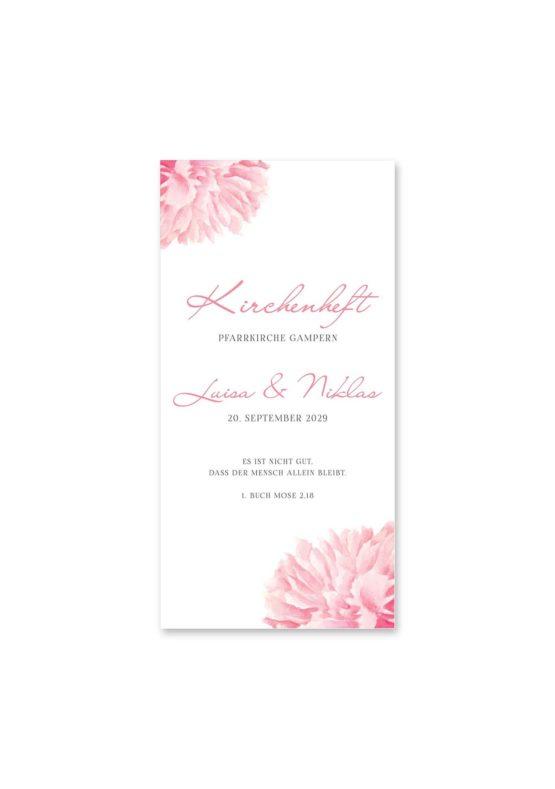 kirchenheft hochzeit vintage blumen pfingstrosen rosa aquarell acyrl malerei hochzeitsgrafik onlineshop papeterie