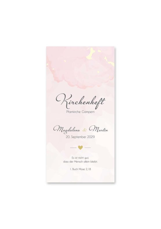 kirchenheft hochzeit vintage watercolor gold rosa aquarell hochzeitsgrafik onlineshop papeterie