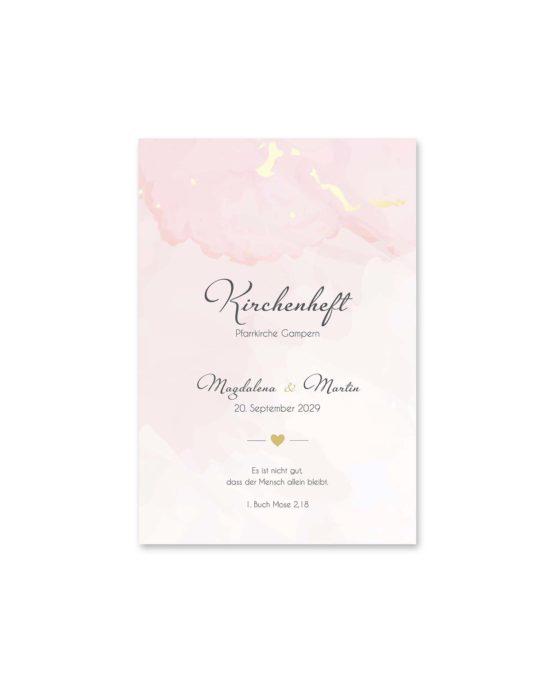 kirchenheft fächer hochzeit vintage watercolor gold rosa aquarell hochzeitsgrafik onlineshop papeterie