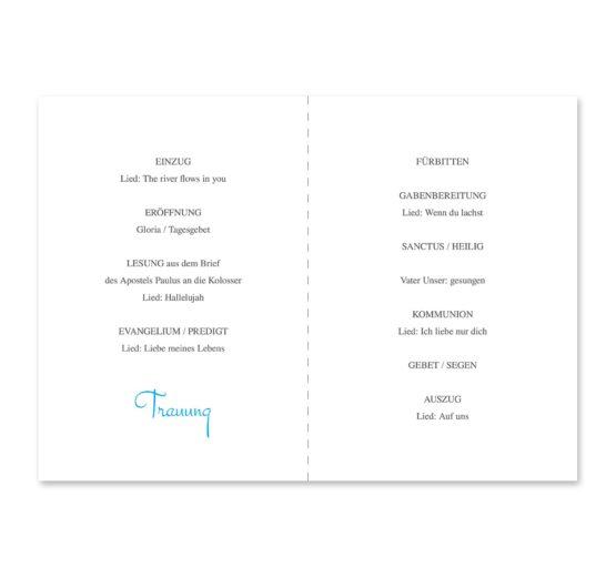 kirchenheft klappkarte hochzeit pusteblume blume cyan blitzblau hochzeitsgrafik onlineshop papeterie