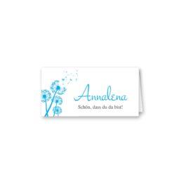 tischkarte klappkarte hochzeit pusteblume blume cyan blitzblau hochzeitsgrafik onlineshop papeterie