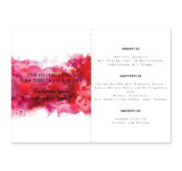 menükarte klappkarte hochzeit vintage farbenfroh watercolor beere pink lila hochzeitsgrafik onlineshop papeterie