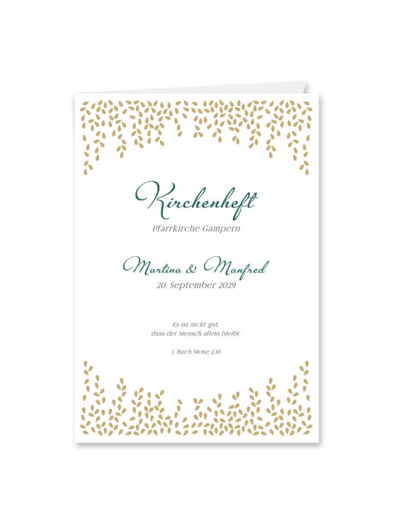 kirchenheft klappkarte hochzeit elegant gold fallende blätter herbst hochzeitsgrafik onlineshop papeterie