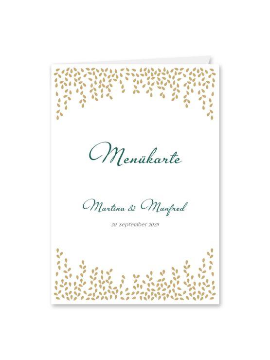 menükarte klappkarte hochzeit elegant gold fallende blätter herbst hochzeitsgrafik onlineshop papeterie