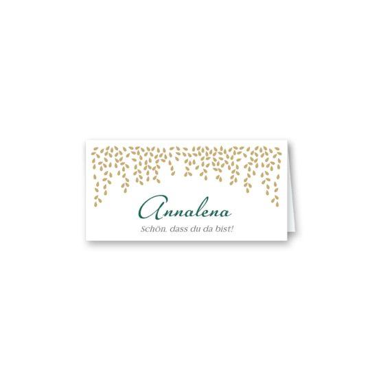 tischkarte klappkarte hochzeit elegant gold fallende blätter herbst hochzeitsgrafik onlineshop papeterie