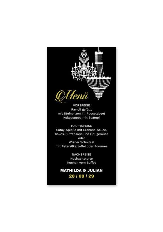 menükarte hochzeit elegant gold schwarz luster hochzeitsgrafik onlineshop papeterie
