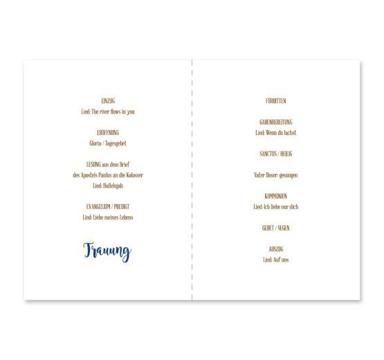 kirchenheft klappkarte hochzeit vintage ornamente braun blau elemente hochzeitsgrafik onlineshop papeterie