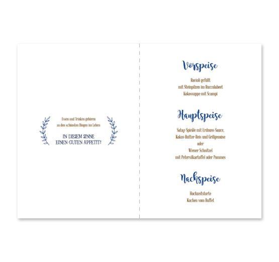 menükarte klappkarte hochzeit vintage ornamente braun blau elemente hochzeitsgrafik onlineshop papeterie