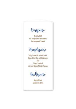 menükarte dreieck hochzeit vintage ornamente braun blau elemente hochzeitsgrafik onlineshop papeterie