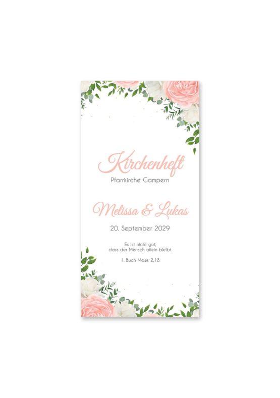 kirchenheft hochzeit elegant rosen rosa weiß grün geometrie gold hochzeitsgrafik onlineshop papeterie