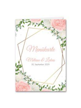 menükarte klappkarte hochzeit elegant rosen rosa weiß grün geometrie gold hochzeitsgrafik onlineshop papeterie