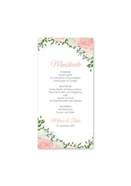 menükarte hochzeit elegant rosen rosa weiß grün geometrie gold hochzeitsgrafik onlineshop papeterie