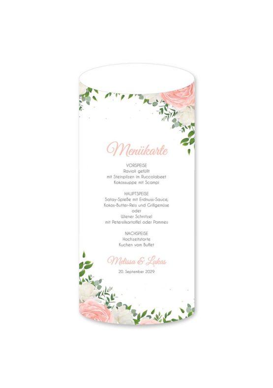 menükarte windlicht hochzeit elegant rosen rosa weiß grün geometrie gold hochzeitsgrafik onlineshop papeterie