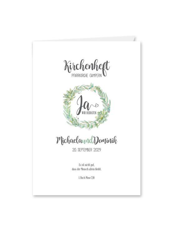 kirchenheft klappkarte hochzeit vintage watercolor blumenkranz greenery eucalyptus sukkulenten aquarell acryl hochzeitsgrafik onlineshop papeterie
