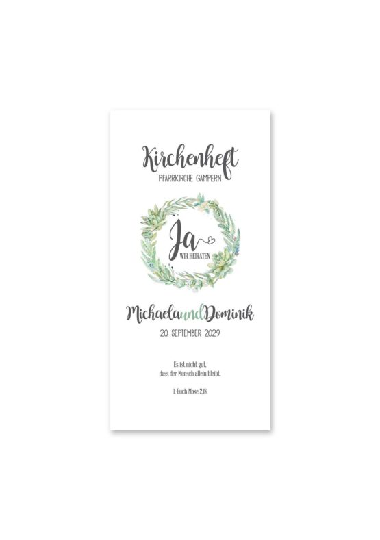 kirchenheft hochzeit vintage watercolor blumenkranz greenery eucalyptus sukkulenten aquarell acryl hochzeitsgrafik onlineshop papeterie
