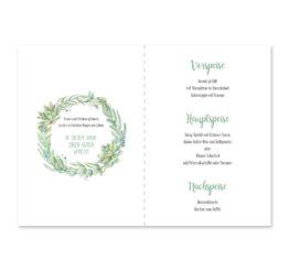 menükarte klappkarte hochzeit vintage watercolor blumenkranz greenery eucalyptus sukkulenten aquarell acryl hochzeitsgrafik onlineshop papeterie